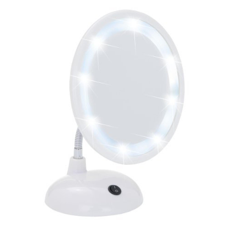 Miroir sur pied cosm tique style grossissement x3 blanc for Miroir sur pied blanc