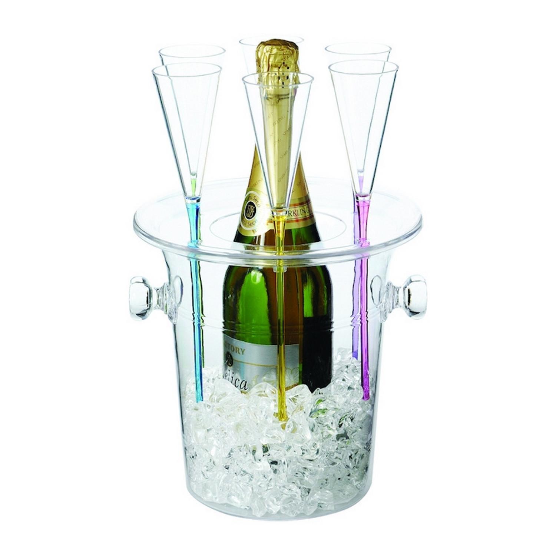 sceau champagne avec 6 fl tes acrylique. Black Bedroom Furniture Sets. Home Design Ideas