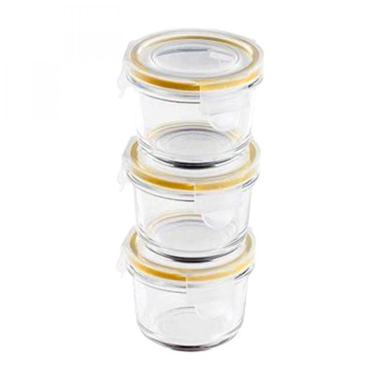 Boite herm tique 3 pi ces pots de b b 160ml en verre - Pot conservation verre ...