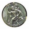 Médaille De Saint-christophe Plaquée Argent Avec Filigrane Coupé En Diamant