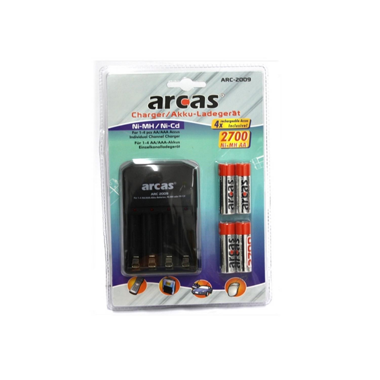 Chargeur universel Arcas ARC-2009 avec 4 accus AA 2700