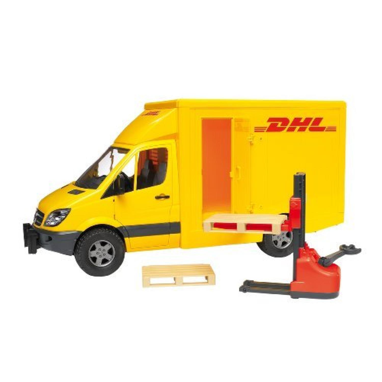 2534 - Véhicule Miniature - Camion De Transport Dhl Avec Transpalettre Et Accessoires
