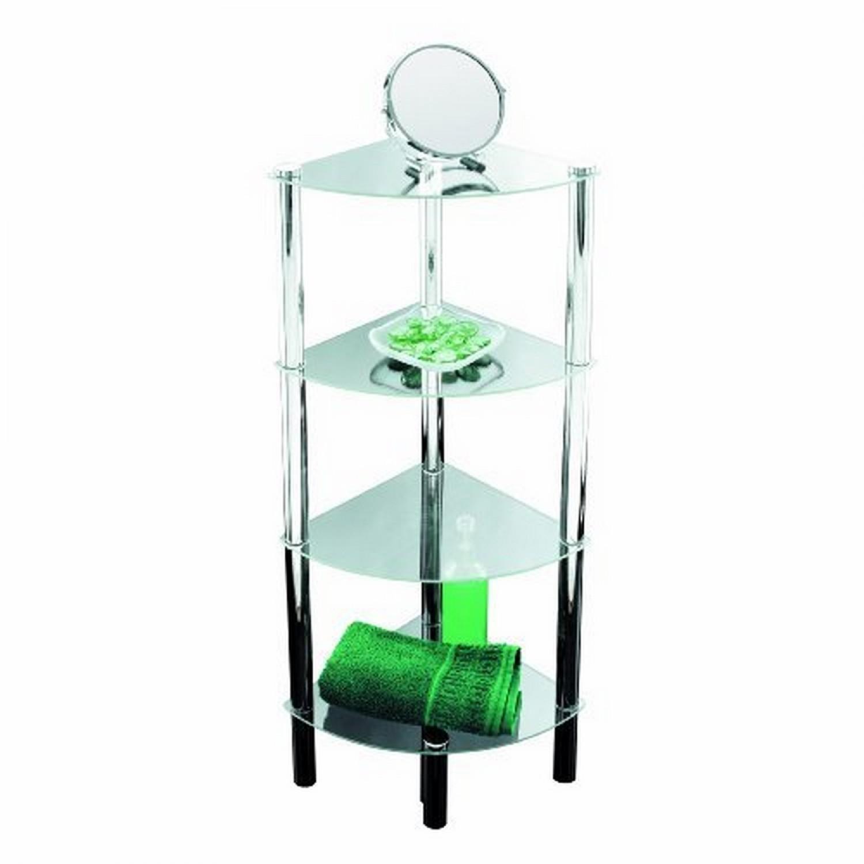 Solanio Meuble d'angle 4 étagères Chromé Fond en verre 30 x 30 x 108 cm (Import Allemagne)