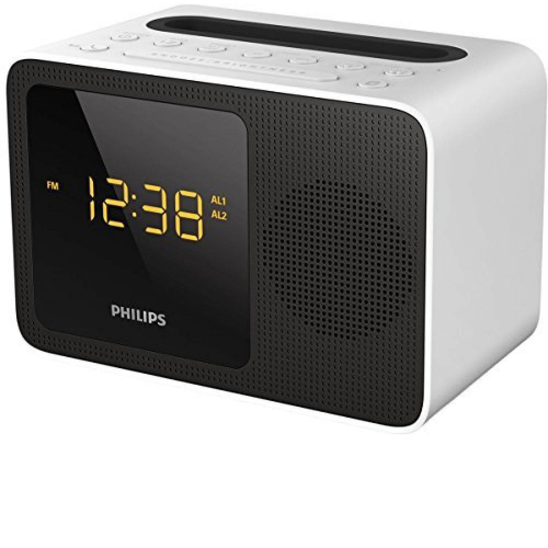 Ajt5300w Radio Réveil Bluetooth Avec Tuner Fm, Station D'accueil Et Rechargement Iphone Ou Android, Blanc