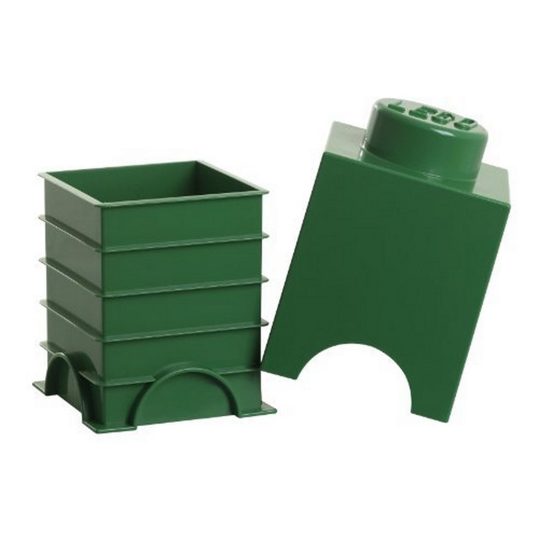 Jeu De Construction Brique Range Empilable Vert Foncé 1 Plot