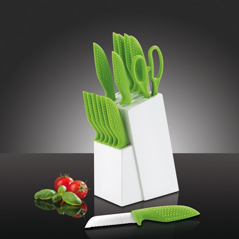 Bloc couteaux - Lame revêtement céramique -15pcs - Vert