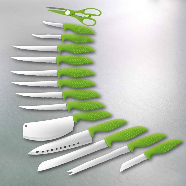 Bloc couteaux - Lame revêtement céramique -15pcs