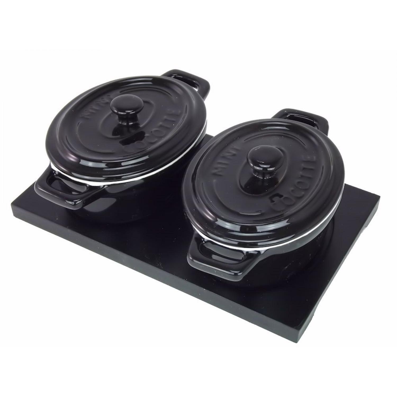 Set de cocottes de four  - Noir - Lot de 2 mini cocottes  - Céramique