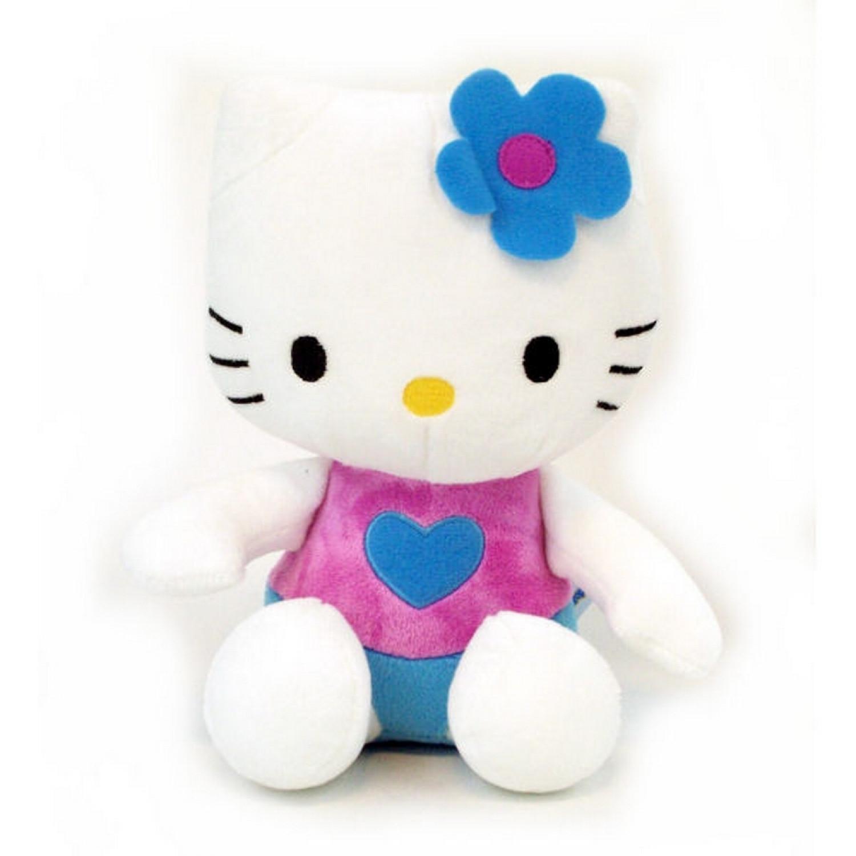 Hello Kitty - Peluche douce Kitty 20cm - Fleur Bleu