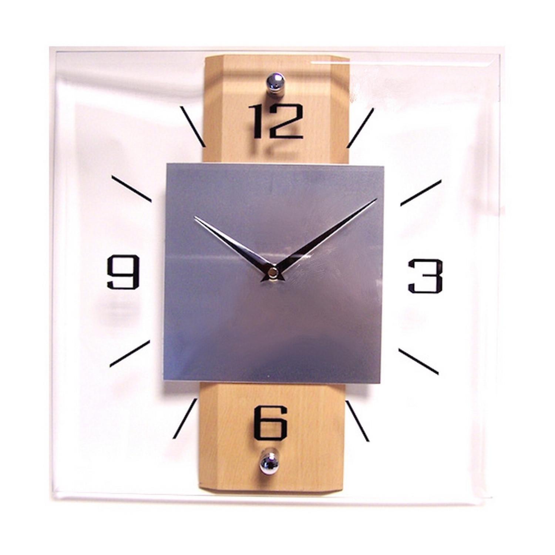 Horloge murale - En verre - Carré centre métal - 31.5x31.5cm