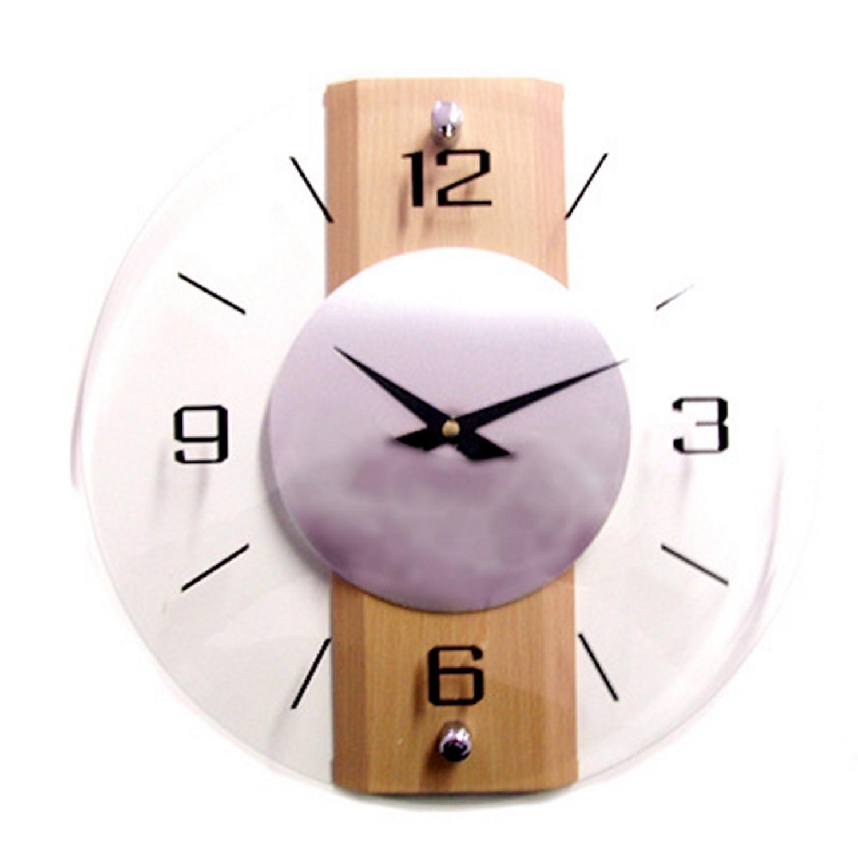 Horloge murale - En verre - Ronde - centre métal - 31.5x31.5cm