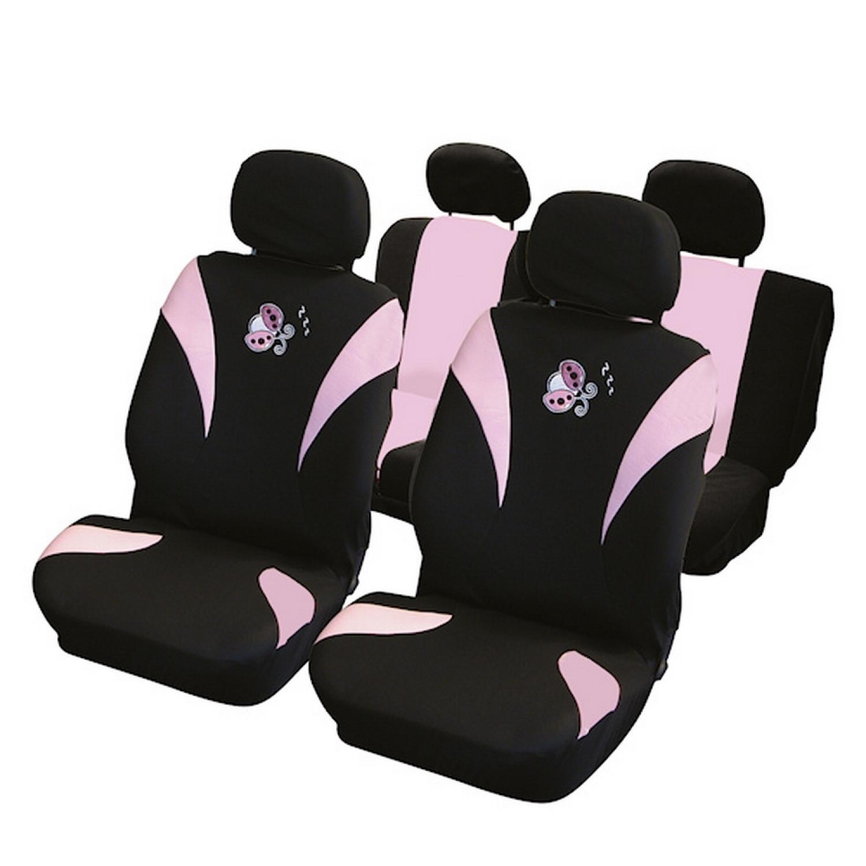 Housse de voiture - Carpoint - Compatible airbag motif coccinelle - Rose
