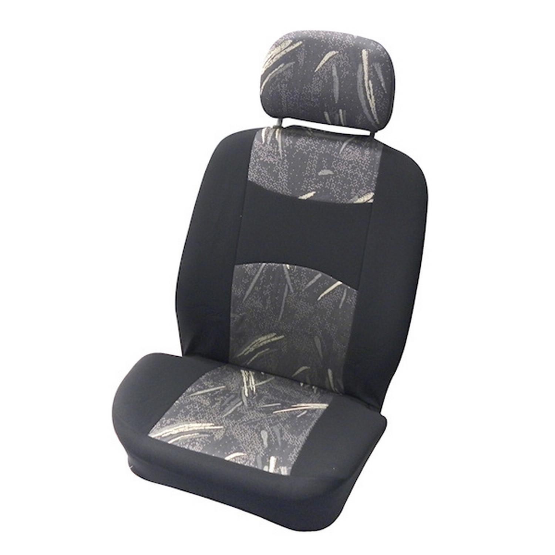 Housse voiture avant - Couvre siège auto - Airbag OK - 4 pièces - Gris et noir