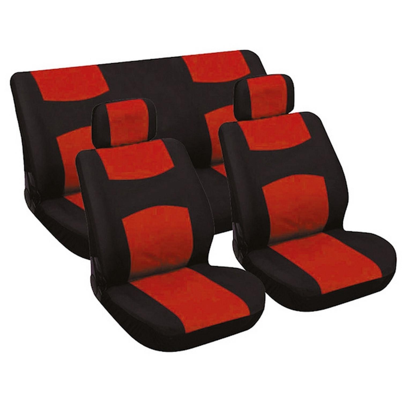 Housse de voiture - Avant - Arriere - Rouge et Noir - 6 pièces