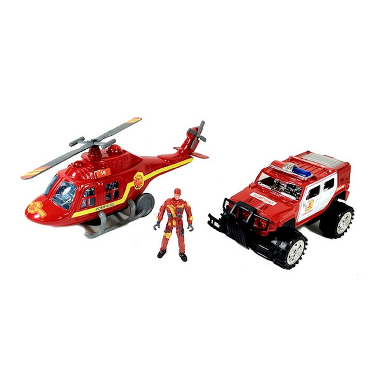 Jouet - Hélicoptère et voiture de pompier