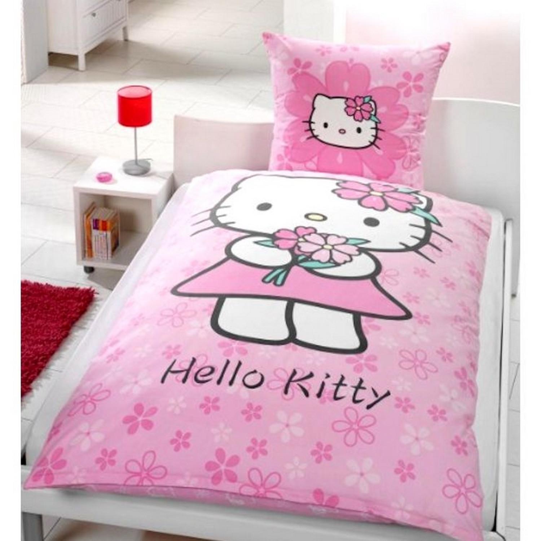 Parure Housse de couette - Hello Kitty - 1 personne - Réversible - 100% Coton