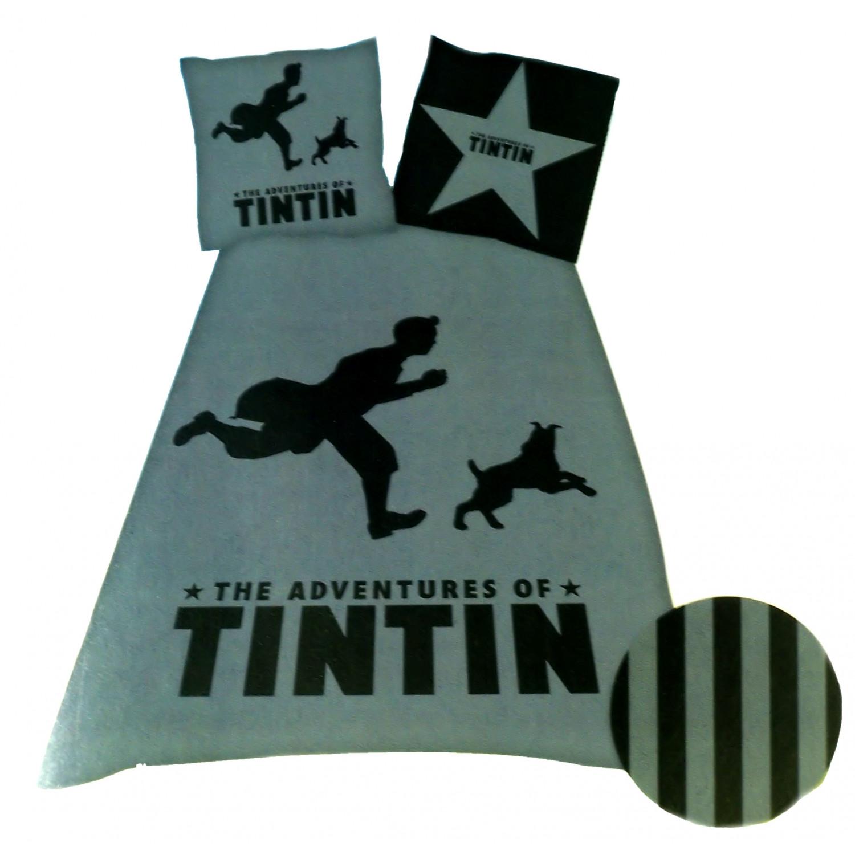 Parure de housse de couette - Tintin Shadow black 1 personne - Avec motifs
