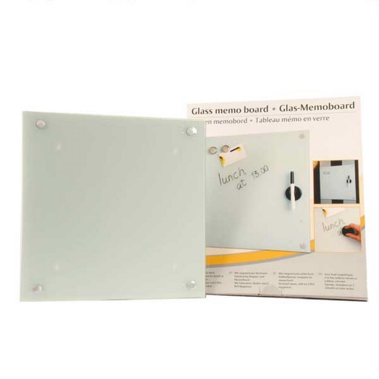 Tableau mémo en verre - Magnétique 40x40 cm - Blanc