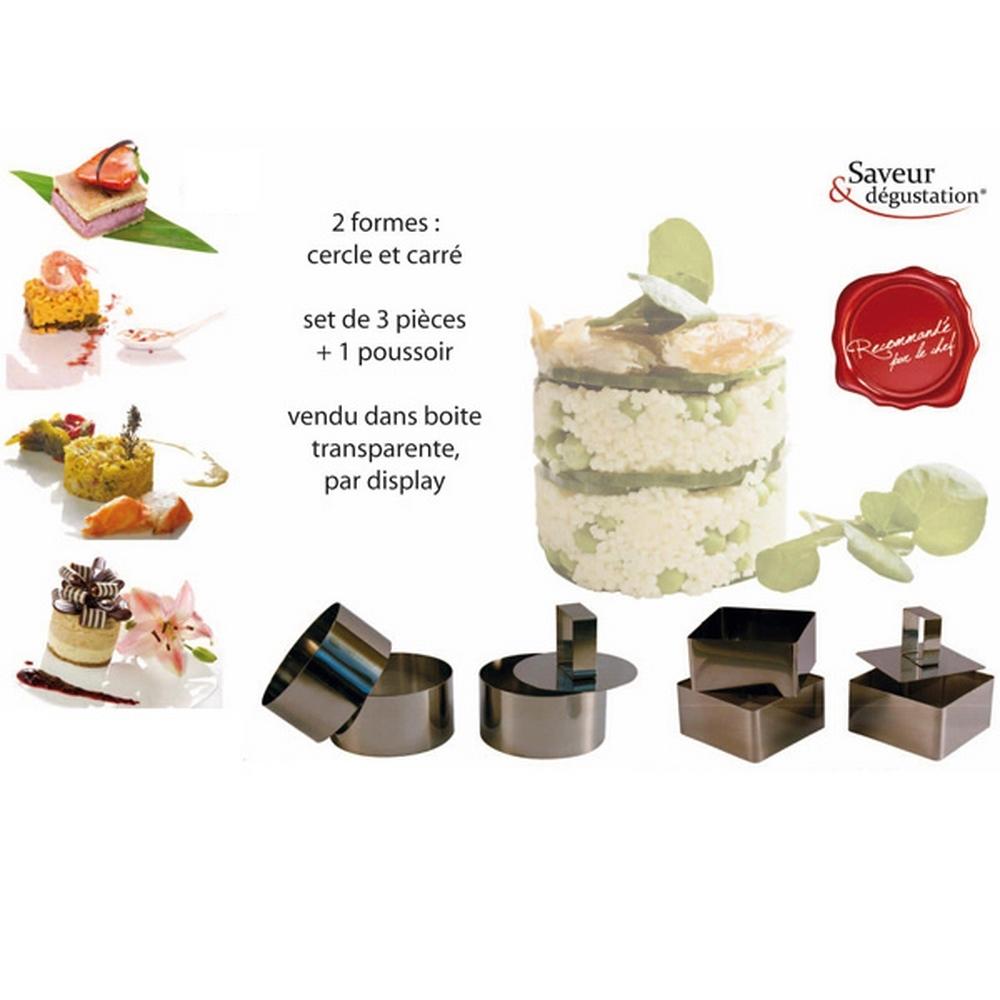 Emporte pièce - Avec poussoir - Set de 3 carrés et 3 ronds - Acier Inox pour 20€